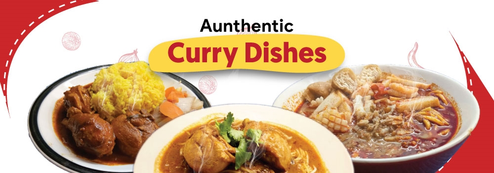 Authentic Curry Dishes, Briyani Rice, Yellow Rice, Curry Chicken, Beef and Lamb